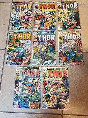 Mighty Thor 8 comic lot, 260,261,263,264,265,267,268,279