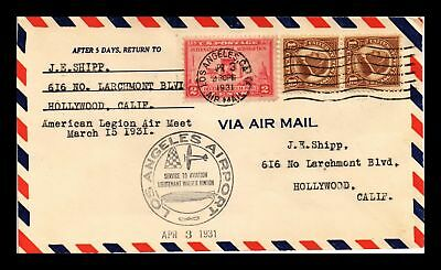 Dr Jim Stamps Us Los Angeles Walter Hinton Air Meet Air Mail Event Cover 1931