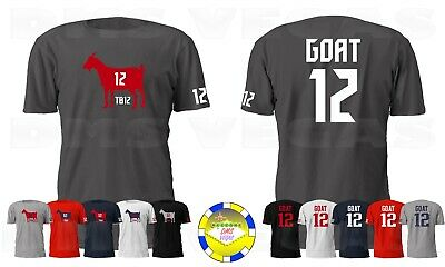 New England Patriots Tom Brady Goat TB12 WITH BACK Jersey Tee Shirt Men S-5XL