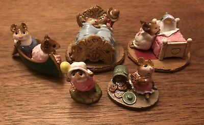 Lot of 5 retired Wee Forest Folk Collection with WFF Boxes row boat