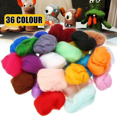 36 Colors Roving Fibre Wool Yarn Roving Set for Needle Felting Mat Starter Craft