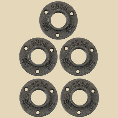 Lot Of 5- 1 Inch Black Malleable Iron Pipe Floor Flange Fittings Plumbing