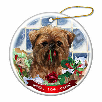 Brussels Griffon Howliday Porcelain China Dog Christmas Ornament H2