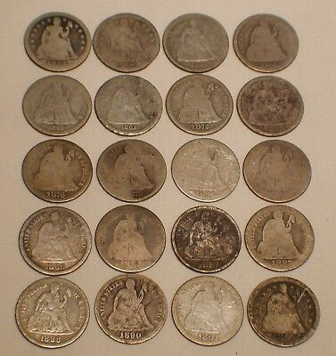 Lot of 20 Seated Liberty Dimes 10 Cent US Silver Coin Lot Dated 1853 to 1891