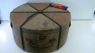 Vintage Canvas and Wood Hat Box Rare
