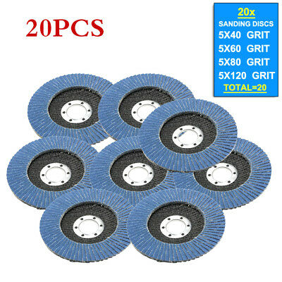 "20pcs 4.5"" Mix Flap Discs 115mm Sanding 40 60 80 120 Grit Grinding Wheels Discs"