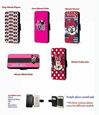 Minnie mouse Inspired pattern disney cute leather phone case for Huawei Samsung