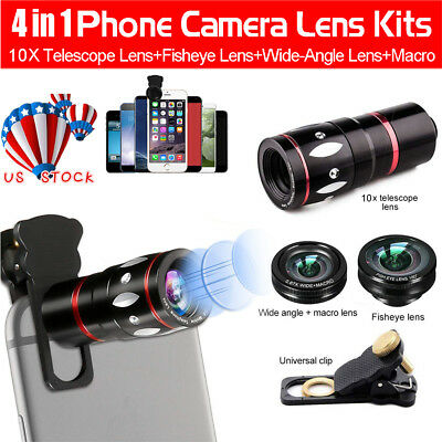 Cell Mobile Phone Smartphone Camera Lens Kit 4 in 1 Optical Zoom Clip On Macro