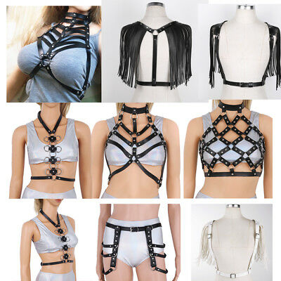 Womens Faux Leather Harness Chest Body Strap Belt Hollow Out Cage Bra Costume