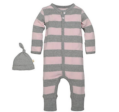 Burts Bees Baby 1-Piece Coverall/Hat Organic Pink/Gray Szs 6-9 Mo/12Mo NWT