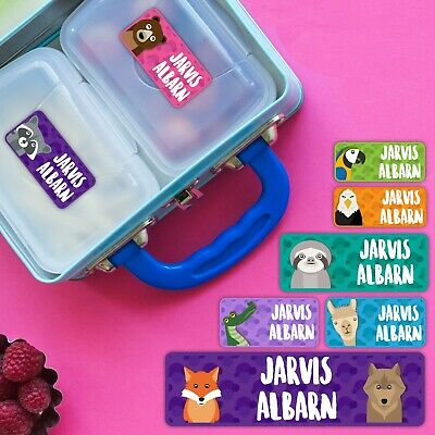 American Animal Personalised Name Label for Kids, dishwashable, microwaveable