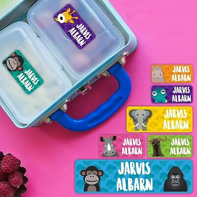 African Animal Personalised Name Label for Kids, dishwashable, microwaveable