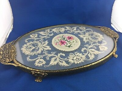 Exquisite French Vintage Ormolu Lace Work Vanity Tray! Stunning! 37Cm