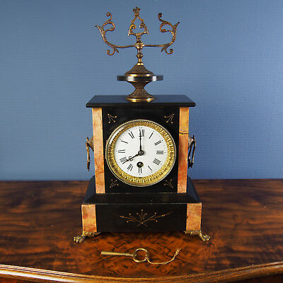 Beautiful Antique French Marble and Bronze Mantel / Shelf Clock from about 1885