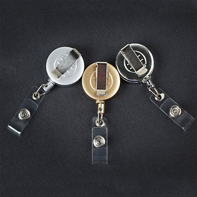 1x Retractable Pull Key Ring ID Name Tag Card Holder Badge Holder Key Chain Clip