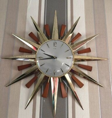FAB Metamec Sunburst Clock 60/70's Original Movement Working Gold Colour.