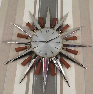 FAB Metamec Sunburst Clock 60/70's German Movement Working Chrome And Brass