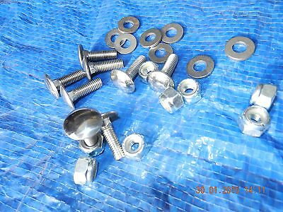 """MF 35 Tractor Bonnet BOLTS. Polished Stainless Steel.C/w Lock nuts.1/4"""" Set of 8"""