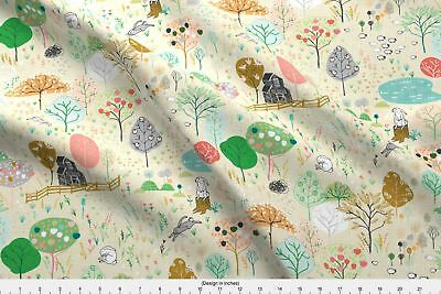 Apple Farm Fruit Orchard Sheep Trees Harvest Fabric Printed by Spoonflower BTY