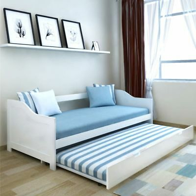Enjoyable Pull Out Sofa Bed Double Deck Day Bed Pine Wood White 200X90 Caraccident5 Cool Chair Designs And Ideas Caraccident5Info