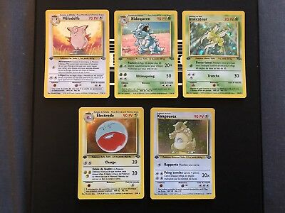 Lot 5 Cartes Pokemon HOLOS Edition 1 Jungle Wizards / Melodelfe Nidoqueen..