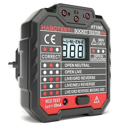RCD Leakage Switch Detector Socket Tester with LCD Screen Measurement Analysis
