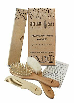 Shellamy 3 Piece Wooden Baby Hair Brush & Comb Set with Goat Hair Bristle Gift