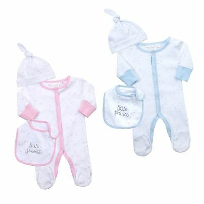 Babies Baby Girls Boys Sleepsuit Bib Hat Babygrow All in One Newborn Gift Set