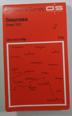 1972 Old Vintage OS Ordnance Survey One-inch Seventh Series Map 153 Swansea