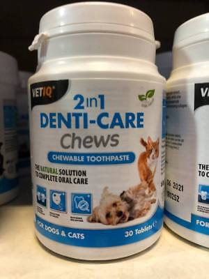 Vetiq 2 in 1 Denti-care Chews 30 Tablets for Dogs & Cats Chewable Toothpaste