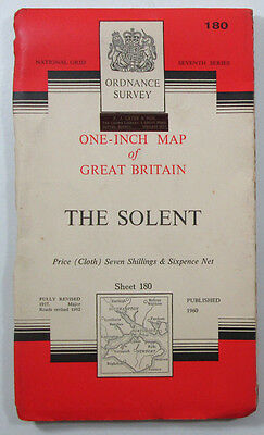 1963 vintage OS Ordnance Survey Seventh Series one-inch CLTH map 180 The Solent