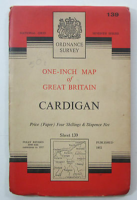 1957 old vintage OS Ordnance Survey one-inch Seventh Series Map 139 Cardigan