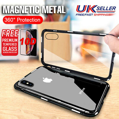 Magnetic Metal Bumper Case 360° Cover+Tempered Glass Protector for iPhone XS Max