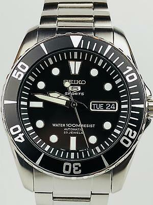 Preowned Seiko 5 Sports Automatic Stainless Steel Black Men's Watch SNZF17K1£279