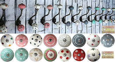 Gunmetal Colour Shabby chic vintage coat hooks pegs with choice of ceramic knobs