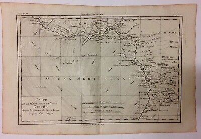 WEST AFRICA GUINEA 1780 by RIGOBERT BONNE ANTIQUE ENGRAVED MAP 18TH CENTURY