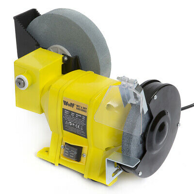 Wolf Wet and Dry Bench Grinder 250w Bench Mounted Tool Rest and Eye Shield