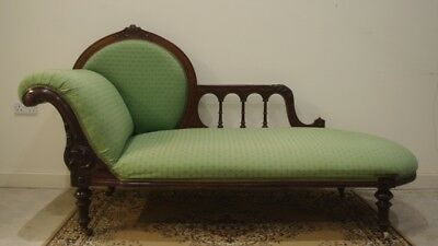 ### Victorian Walnut Chaise Longue - Original Upholstery ###