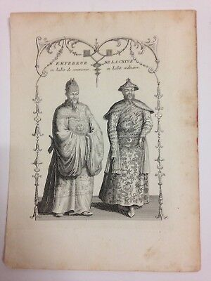 Emperors Of China 1750 Nicolas Bellin Nice Antique Engraved Plate 18Th Century