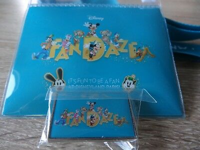 lot pins disney fandaze disneyland paris lanyard + pins + pochette