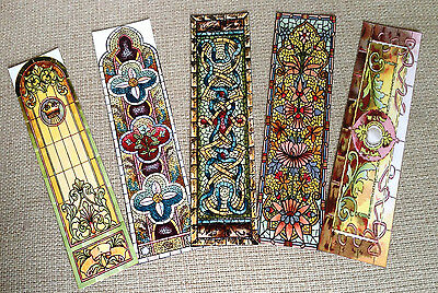 Set of 5 Laminated Bookmarks with Stained Glass Designs
