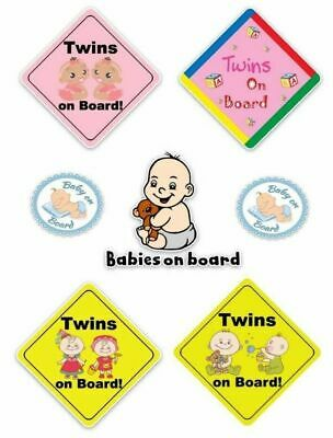 Baby On Board Kids Sticker Decal Girl Boy Child Funny Novelty Twins Car Van