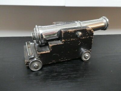 Vintage Chromed Brass Model Ships Signal Cannon Wood Carriage British Made