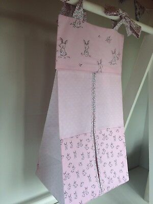 Pink with Rabbits, Nappy Stacker/Toy Storage for girls. Ideal baby shower gift.