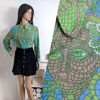 Vintage 60s 70s Psychedelic Face Print Blouse Shirt Tunic Top  M 12 14 40 42