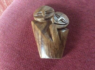 "Uniquely Stunning Wood Carving Abstract  ""Two People Deep In Thought"""