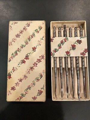 Vintage Mixed Lot of 6 Stainless French Escargot Snail Forks Olive Pick Flatware
