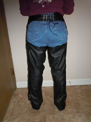 FMC  Mens/womens BlacK leather motorcycle chaps mesh poly lining VGC sz Large