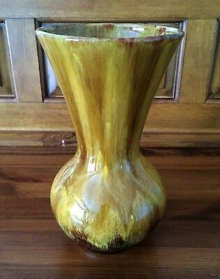 Vintage MCM Blue Mountain Pottery Canada ~ Gold Harvest Glaze ~ Large Bulb Vase