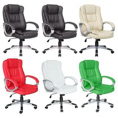 Executive Computer Office Chair Adjustable Swivel Recliner PU Leather 6 Colours